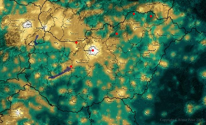 fényszennyezés térkép Rőmer Péter csillagászati felvételei   Észlelőhelyeim fényszennyezés térkép